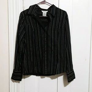 George long sleeve button down top